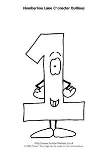 Number line Lane Character Outlines Worksheet