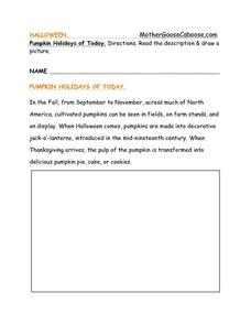 Pumpkin Holidays of Today Worksheet