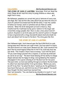 The Story of Jack O'lantern Worksheet