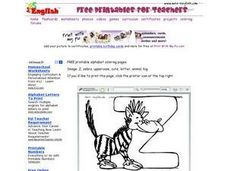 Zebra and the Letter Z Worksheet