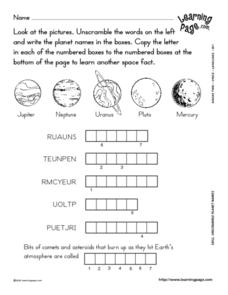 Planet Vocabulary Word Puzzle Lesson Plan