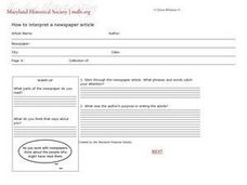 How To Interpret a Newspaper Article Worksheet
