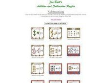 Twelve Illustrated Subtraction Flash Cards Worksheet