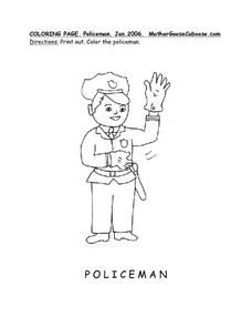 Coloring Page:  The Policeman Worksheet