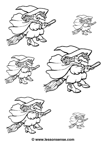 Halloween Witches Coloring Page Worksheet for 2nd Grade