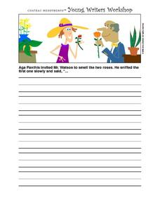 Young Writer's Worksheet- Writing Prompt- Smelling the Roses Worksheet