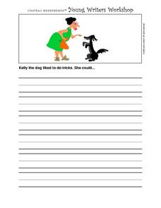 Young Writer's Workshop- Writing Prompts- Dog Tricks Worksheet