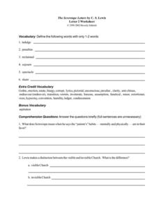 The Screwtape Letters by C. S. Lewis (Letter 2) Worksheet