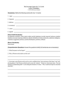 The Screwtape Letters by C. S. Lewis (Letter 5) Worksheet