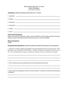 The Screwtape Letters by C. S. Lewis (Letter 4) Worksheet