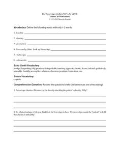 The Screwtape Letters by C. S. Lewis (Letter 20) Worksheet