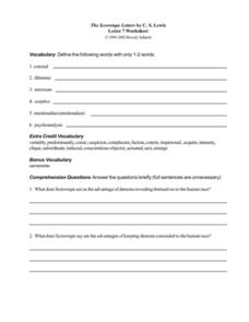 The Screwtape Letters by C.S. Lewis (Letter 7) Worksheet