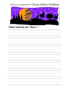 Story Starter-  The Violin Playing Cat Worksheet
