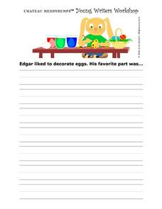 Young Writer's Worksheet- Writing Prompt- Decorating Easter Eggs Writing Prompt
