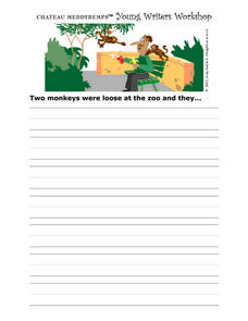 Young Writer's Workshop Writing Prompt Worksheet- Monkeys at the Zoo Writing Prompt