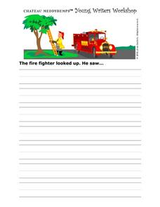 Young Writer's Workshop Writing Prompt Worksheet- Firefighters Worksheet