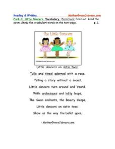 Little Dancers Poetry and Vocabulary Worksheet Worksheet