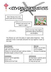 Chinese Food- Regional Food Explanation Worksheet