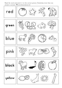 Color/Picture Association Worksheet