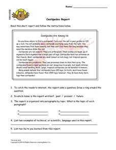 Centipedes Report Lesson Plan