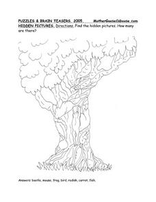 Hidden Pictures in a Tree Worksheet