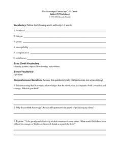 The Screwtape Letters by C.S. Lewis (Letter 29) Worksheet