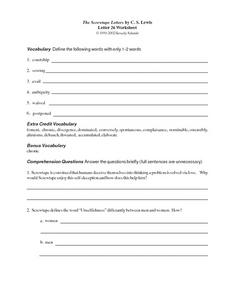 The Screwtape Letters by C.S. Lewis (Letter 26) Worksheet