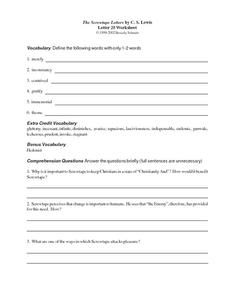 The Screwtape Letters by C.S. Lewis (Letter 25) Worksheet