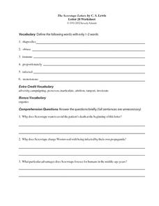 The Screwtape Letters by C.S. Lewis (Letter 28) Worksheet
