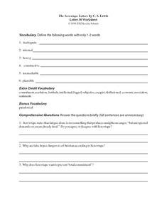 The Screwtape Letters by C.S. Lewis (Letter 30) Worksheet