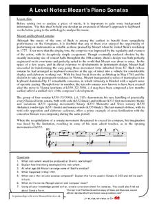 Mozart's Piano Sonatas Worksheet