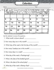 Calendars Worksheet