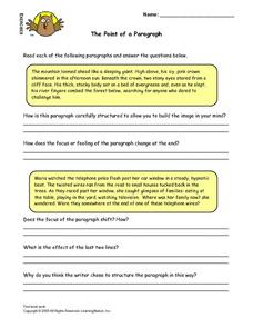 The Point of a Paragraph Lesson Plan