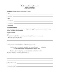 The Screwtape Letters by C.S. Lewis (Letter 1) Worksheet