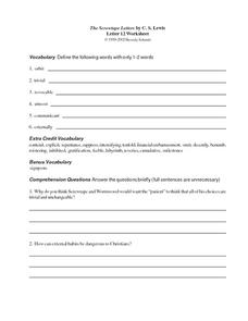 The Screwtape Letters by C.S. Lewis (Letter 12) Worksheet