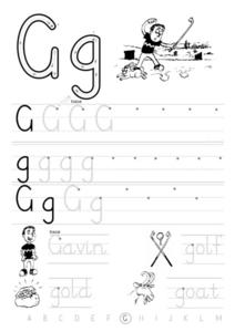 Printing Practice-- Upper And Lower Case Gg Worksheet