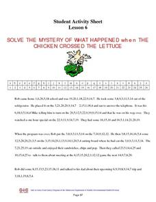 Solve the Mystery of What Happened When the Chicken Crossed the Lettuce Worksheet