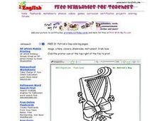 Irish Harp With Shamrocks Worksheet