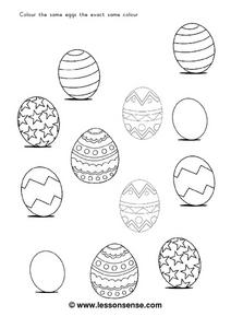 Colour the Same Eggs the Exact Same Color Worksheet