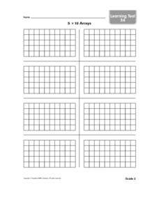 Five By Ten Arrays Worksheet