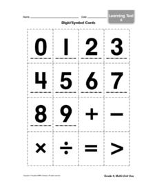 Digit/Symbol Cards Worksheet