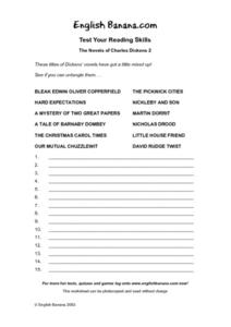Test Your Reading Skills-- The Novels of Charles Dickens Worksheet