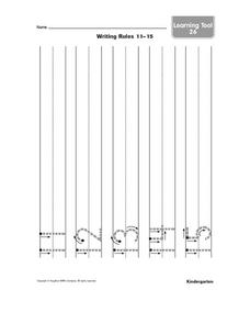 Printing Practice--  Numbers 11-15 Worksheet