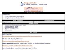 Cinquain Poetry Lesson Plan