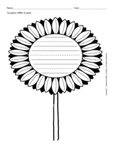 Sunflower Writing Lines Worksheet