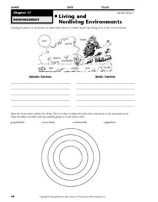 Living and Nonliving Environments Worksheet