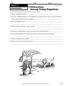 interactions among living organisms worksheet for 4th 6th grade lesson planet. Black Bedroom Furniture Sets. Home Design Ideas