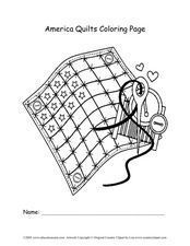 America Quilts Coloring Page Worksheet
