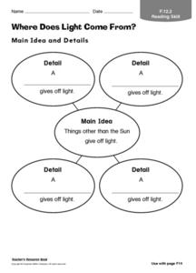 Where Does Light Come From? Worksheet