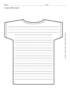 T-shirt With Primary Writing Lines Printables & Template